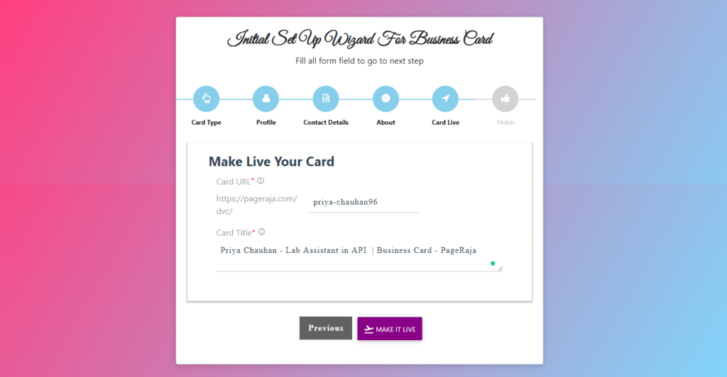 Make your card live