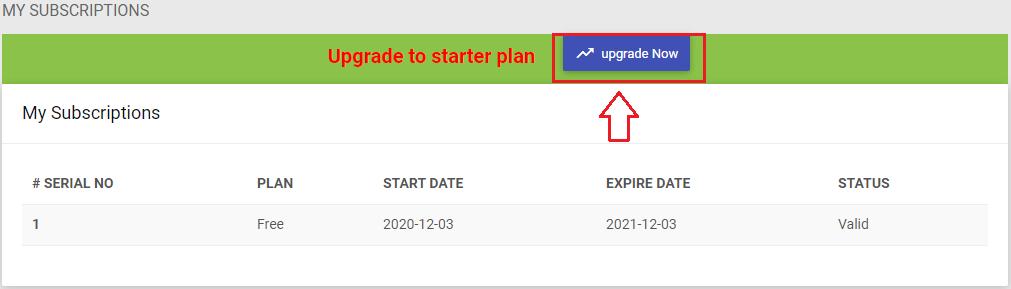 How to upgrade free plan to Starter plan?